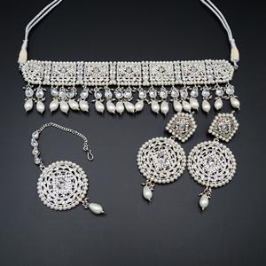 Diyan-White Polki Stone Choker Set - Silver