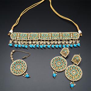Diyan-Gold/Turquoise Polki Stone Choker Set - AntiqueGold