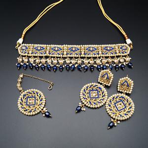 Diyan-Gold/Blue Polki Stone Choker Set - AntiqueGold
