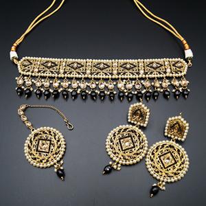 Diyan-Gold/Black Polki Stone Choker Set - Antique Gold