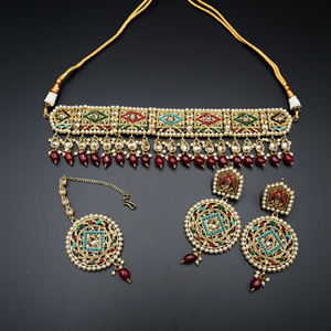Diyan-Gold/Multicolour Polki Stone Choker Set - AntiqueGold