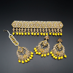 Lavi-Gold/ Yellow Polki Stone Choker Set - Antique Gold
