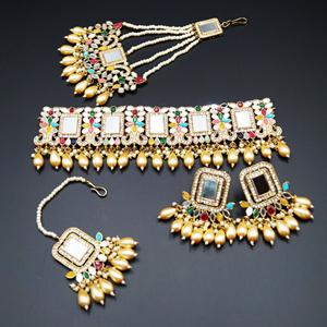 Nova White Mirror/ Multicolour Choker Set - Antique Gold