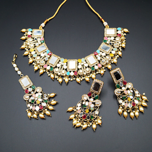 Warhi White Mirror/ Multicolour Necklace  Set - Antique Gold