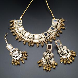 Warhi White Mirror/ Necklace  Set - Antique Gold