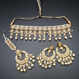 Yukta Gold Polki & White Pearl Necklace Set - Antique Gold