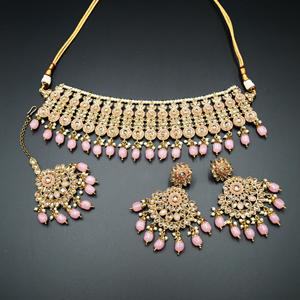 Shanta Gold/Baby Pink Polki Stone Necklace Set - AntiqueGold