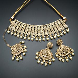 Shanta Gold Polki Stone Necklace Set - AntiqueGold