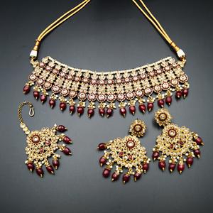 Shanta Gold/Maroon Polki Stone Necklace Set - Antique Gold