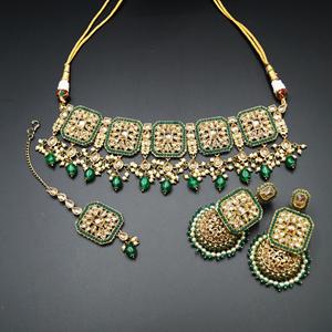 Oshin Gold Polki / Green Beads Necklace Set - AntiqueGold