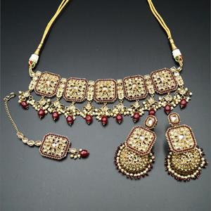 Oshin Gold Polki / Maroon Beads Necklace Set - AntiqueGold