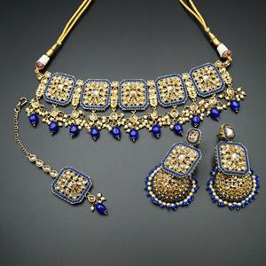 Oshin Gold Polki /Blue Beads Necklace Set - AntiqueGold