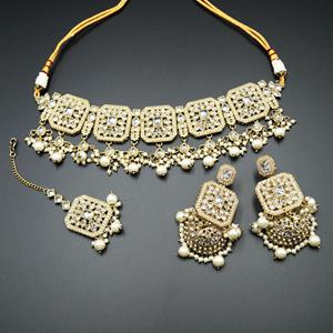Oshin Gold Polki  Necklace Set - AntiqueGold