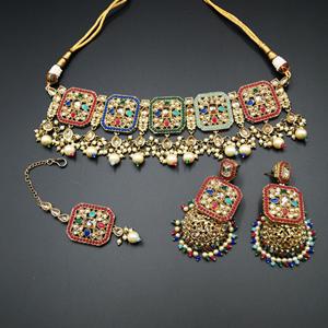 Oshin Gold Polki / Multicolour Necklace Set - AntiqueGold