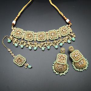 Oshin Gold Polki / Pista Beads Necklace Set - AntiqueGold