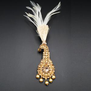 Anay - Gold Polki Stone Kalgi - Gold
