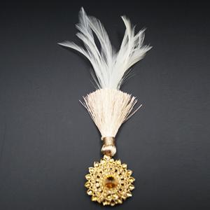 Divij - Gold Diamante Stone Kalgi - Antique Gold