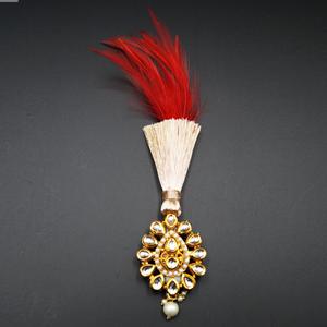 Kiaan - Gold Kundan Stone Kalgi - Gold