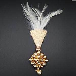 Taksh - Gold Kundan Stone Kalgi - Antique Gold