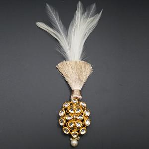 Atit - Gold Kundan Stone Kalgi - Gold