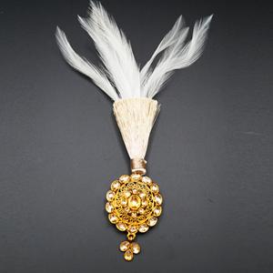Adag - Gold Polki Stone Kalgi -  Gold