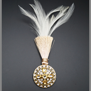 Dylan -White Kunda/Gold Diamante Stone Kalgi -  Gold