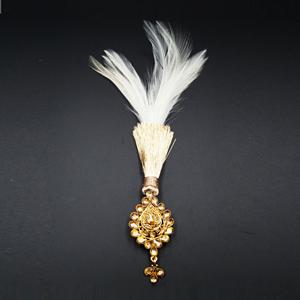 Arna - Gold Polki Stone Kalgi -  Gold