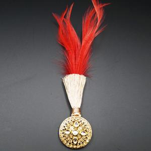 Ava - White Kundan/Gold Diamante Stone Kalgi -  Gold