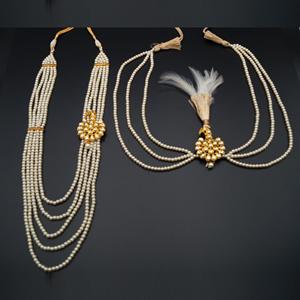 Iravaj Groom Sherwani Haar & Kalgi Set - Gold