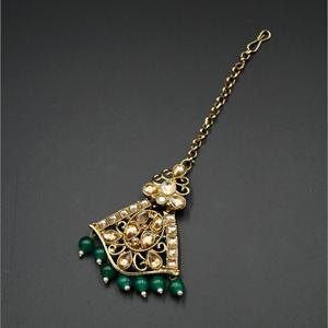 Bea Gold Diamante/ Green Beads Earring Tikka Set - Gold