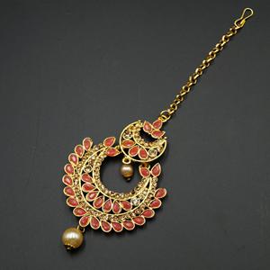 Gigi-Gold/Peach Polki StoneTikka- Gold