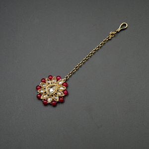Gigi-Gold Polki Stone/Pink Beads Tikka- Gold