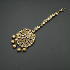 Soma Gold Polki Stone Tikka - Antique Gold
