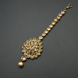 Thea Gold Polki Stone Tikka - Antique Gold