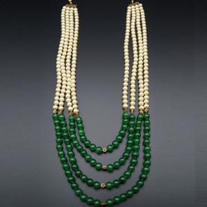 Aakav -Champagne Pearl/Green Beads Groom Sherwani Haar - Gold