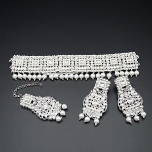 Deval White  Polki  Choker Necklace Set - Silver