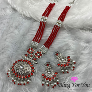 Akuti Red/Diamante Medium Necklace Set - Silver