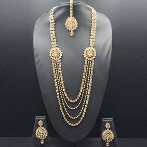 Aashi- Gold Diamante Rani Haar Set - Antique Gold