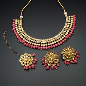 Ksya Gold/Coral Polki Stone Necklace Set - Antique Gold