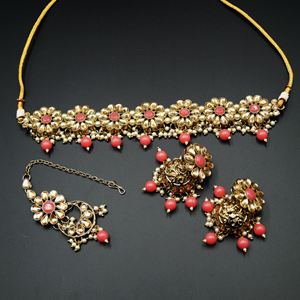 Lexi Gold/ Coral Polki  Necklace Set - Antique Gold