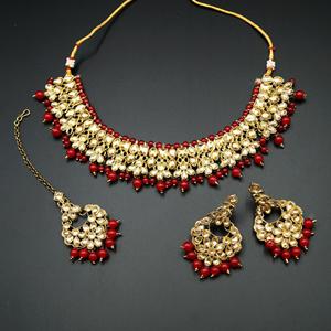 Salina Gold Polki & Red Beads Necklace Set - Antique Gold