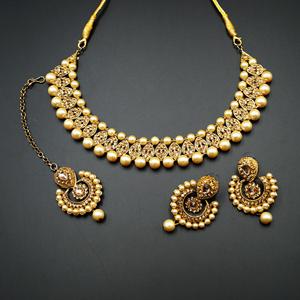 Twisa Gold Diamante Stone Necklace Set - Gold