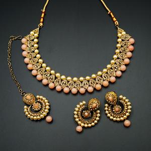 Twisa Gold Diamante/ Peach Beads Necklace Set - Gold