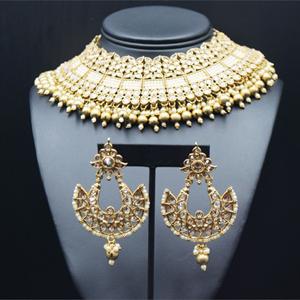 Jafin - Gold Polki Choker Necklace Set - Antique Gold