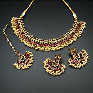 Oorja - Gold Polki/Cerise Stone Necklace Set - Antique Gold