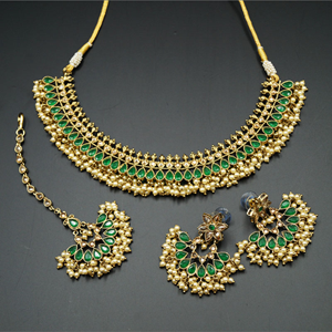 Oorja - Gold Polki/ Green Stone Necklace Set - Antique Gold