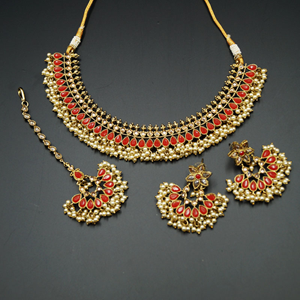 Oorja - Gold Polki/Red Stone Necklace Set - Antique Gold
