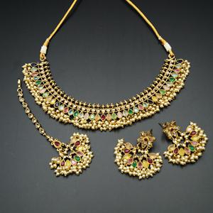 Oorja - Gold Polki/Multicolour Stone Necklace Set - Antique Gold