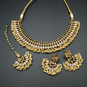 Oorja - Gold Polki/Baby Pink Stone Necklace Set - Antique Gold