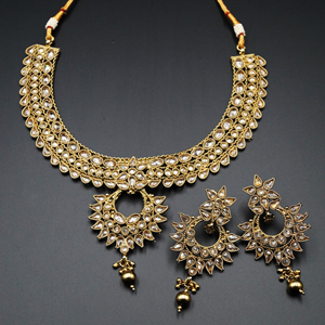 Saleen Gold Polki Necklace Set - Antique Gold